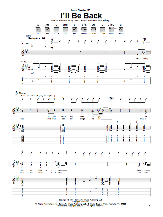 The Beatles I'll Be Back sheet music notes and chords. Download Printable PDF.