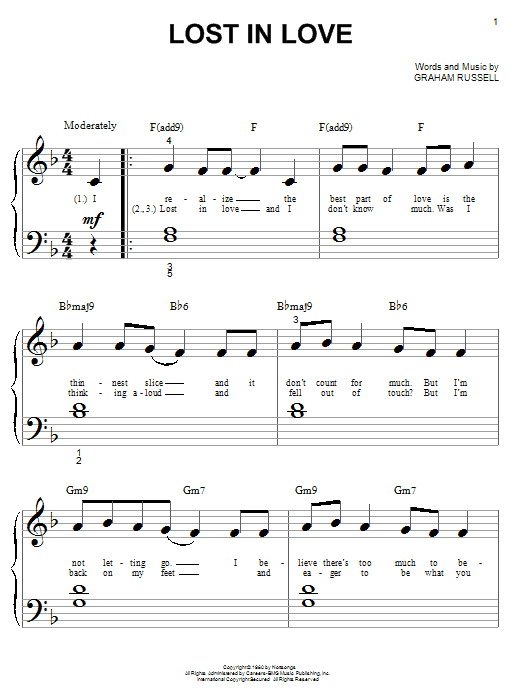 Air Supply Lost In Love sheet music notes and chords. Download Printable PDF.