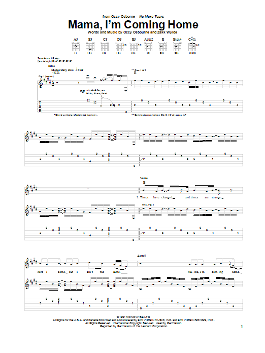 Ozzy Osbourne Mama, I'm Coming Home sheet music notes and chords. Download Printable PDF.