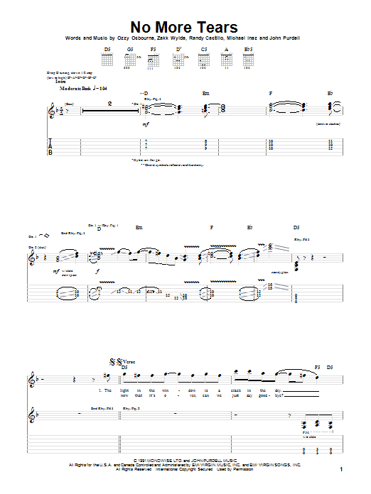 Ozzy Osbourne No More Tears sheet music notes and chords. Download Printable PDF.