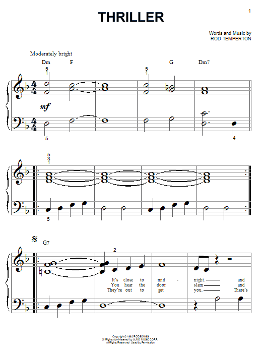 Michael Jackson Thriller sheet music notes and chords. Download Printable PDF.