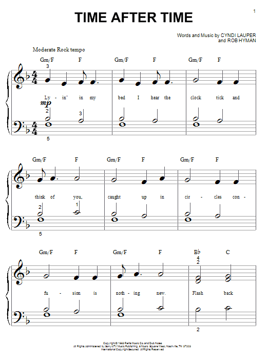Cyndi Lauper Time After Time sheet music notes and chords. Download Printable PDF.