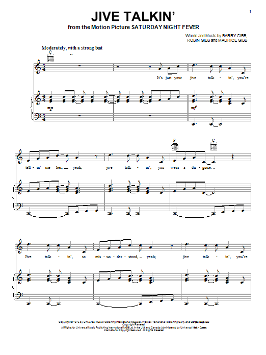 Bee Gees Jive Talkin' sheet music notes and chords. Download Printable PDF.