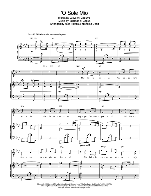 Russell Watson O Sole Mio sheet music notes and chords. Download Printable PDF.