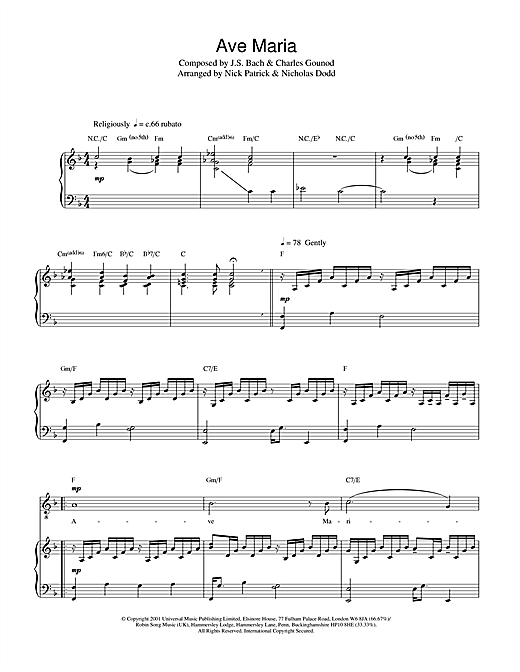 Russell Watson Ave Maria sheet music notes and chords. Download Printable PDF.