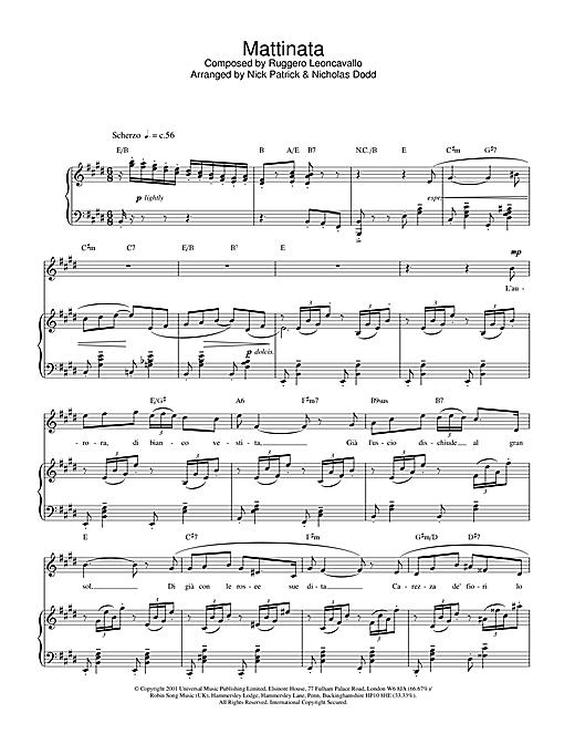 Russell Watson Mattinata sheet music notes and chords. Download Printable PDF.