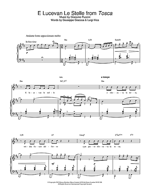 Russell Watson E Lucevan Le Stelle (from Tosca) sheet music notes and chords. Download Printable PDF.