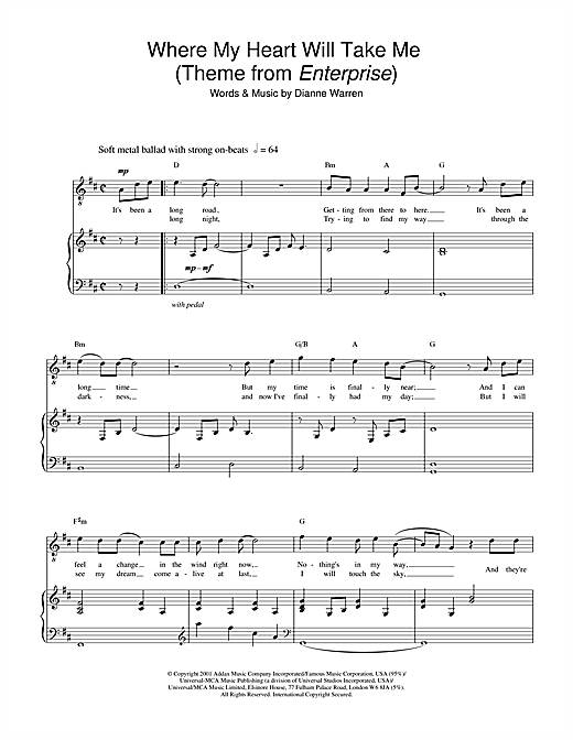 Russell Watson Where My Heart Will Take Me (theme from Star Trek: Enterprise) sheet music notes and chords. Download Printable PDF.
