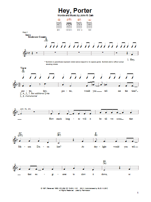 Johnny Cash Hey, Porter sheet music notes and chords. Download Printable PDF.