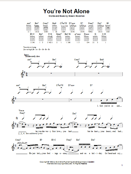 Boyz II Men You're Not Alone sheet music notes and chords. Download Printable PDF.