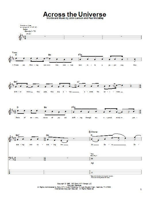The Beatles Across The Universe sheet music notes and chords. Download Printable PDF.