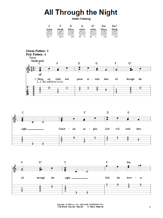Welsh Folksong All Through The Night sheet music notes and chords. Download Printable PDF.