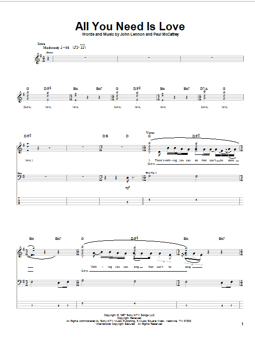 The Beatles All You Need Is Love sheet music notes and chords. Download Printable PDF.