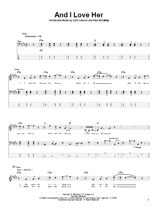 The Beatles And I Love Her sheet music notes and chords. Download Printable PDF.