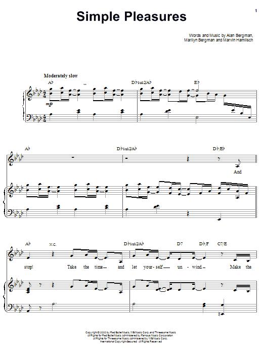 Barbra Streisand Simple Pleasures sheet music notes and chords. Download Printable PDF.