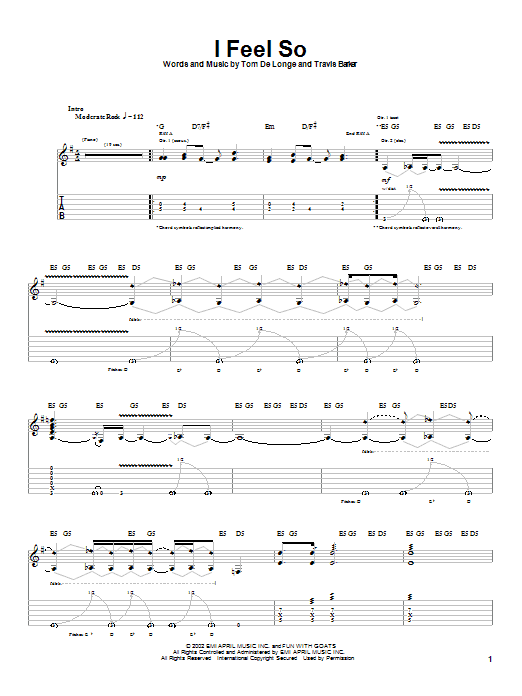 Box Car Racer I Feel So sheet music notes and chords. Download Printable PDF.