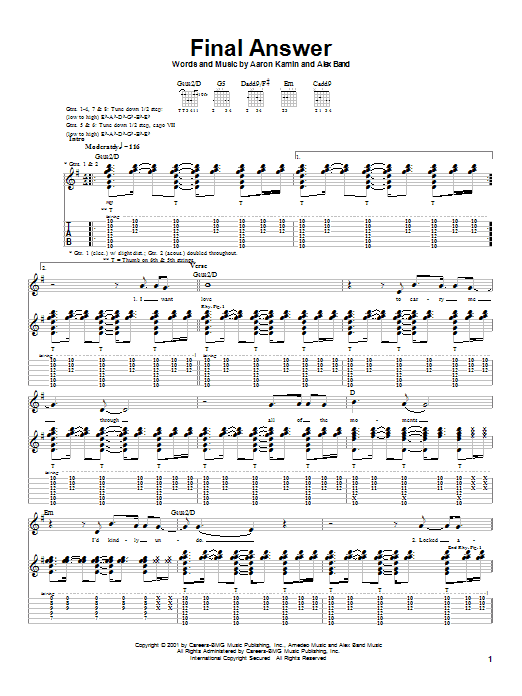The Calling Final Answer sheet music notes and chords. Download Printable PDF.