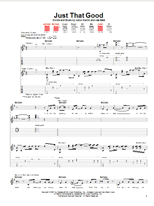 The Calling Just That Good sheet music notes and chords. Download Printable PDF.