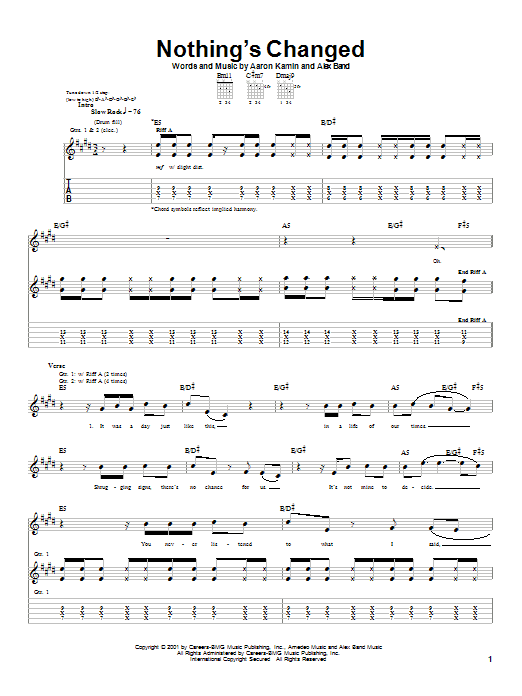 The Calling Nothing's Changed sheet music notes and chords. Download Printable PDF.