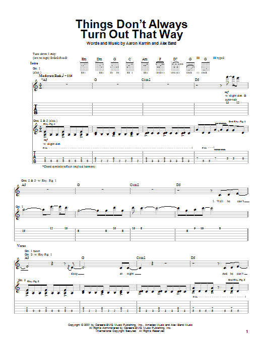 The Calling Things Don't Always Turn Out That Way sheet music notes and chords. Download Printable PDF.