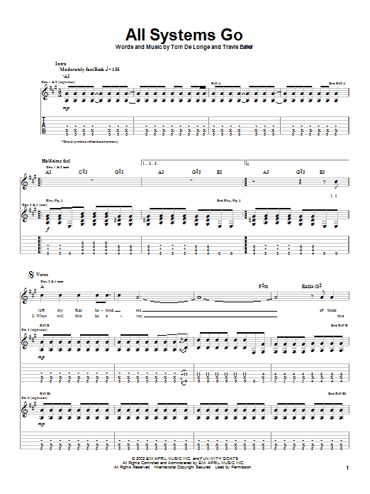 Box Car Racer All Systems Go sheet music notes and chords. Download Printable PDF.