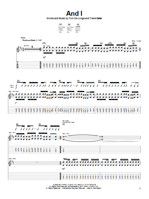 Box Car Racer And I sheet music notes and chords. Download Printable PDF.