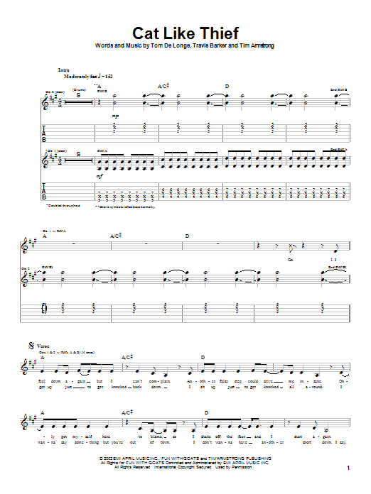 Box Car Racer Cat Like Thief sheet music notes and chords. Download Printable PDF.