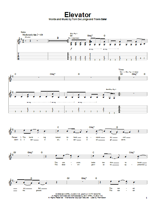 Box Car Racer Elevator sheet music notes and chords. Download Printable PDF.