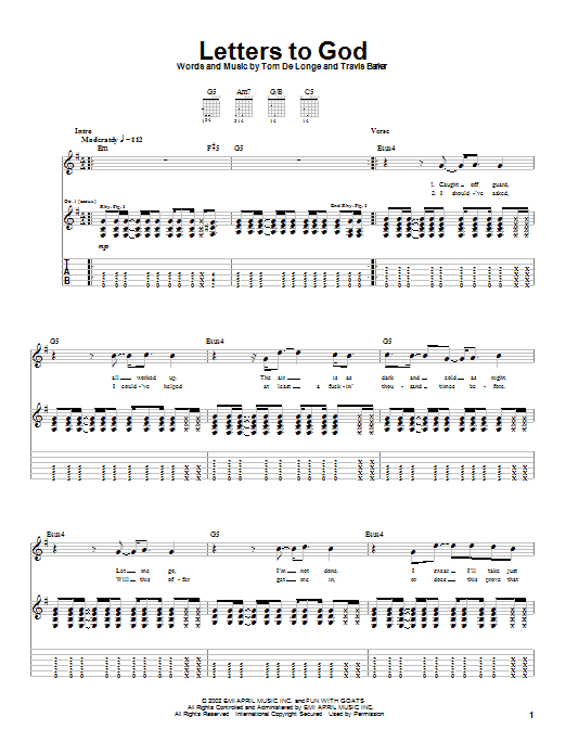 Box Car Racer Letters To God sheet music notes and chords. Download Printable PDF.