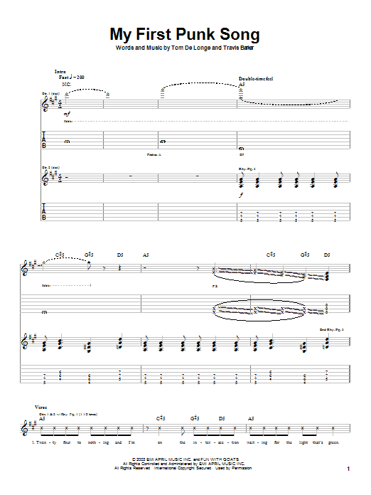 Box Car Racer My First Punk Song sheet music notes and chords. Download Printable PDF.