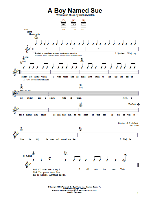 Johnny Cash A Boy Named Sue sheet music notes and chords. Download Printable PDF.