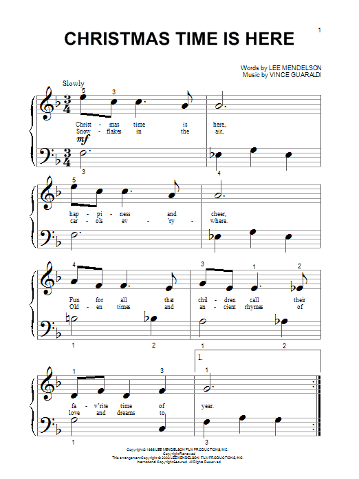 Vince Guaraldi Christmas Time Is Here (from A Charlie Brown Christmas) sheet music notes and chords. Download Printable PDF.