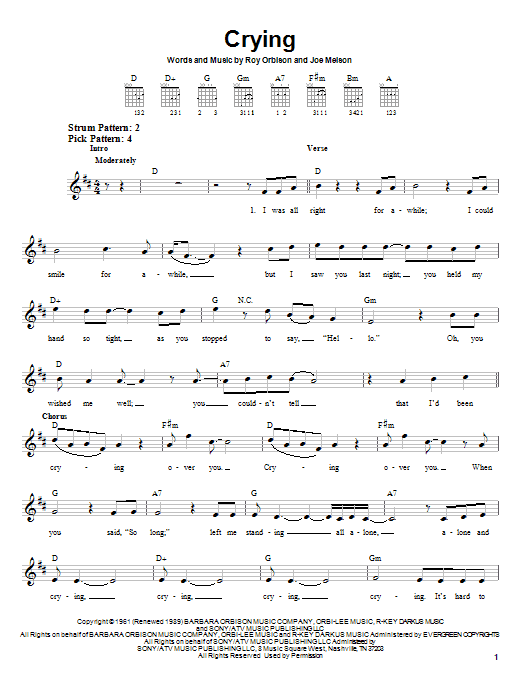 Roy Orbison Crying sheet music notes and chords. Download Printable PDF.