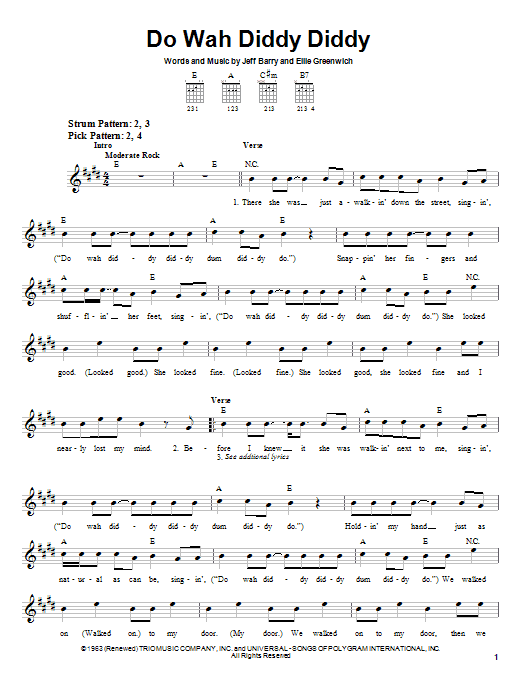 Manfred Mann Do Wah Diddy Diddy sheet music notes and chords. Download Printable PDF.
