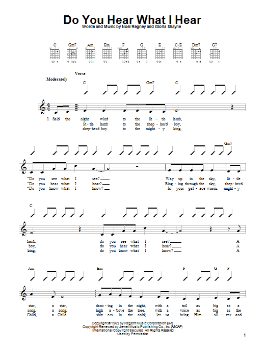 Gloria Shayne Do You Hear What I Hear sheet music notes and chords. Download Printable PDF.