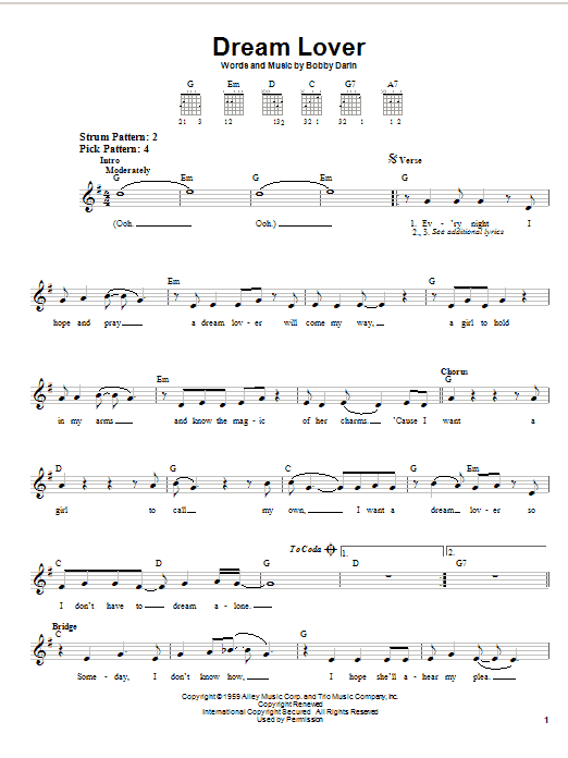 Bobby Darin Dream Lover sheet music notes and chords. Download Printable PDF.