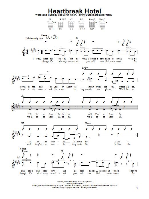 Elvis Presley Heartbreak Hotel sheet music notes and chords. Download Printable PDF.