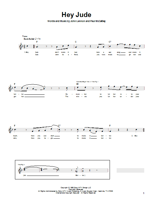 The Beatles Hey Jude sheet music notes and chords. Download Printable PDF.