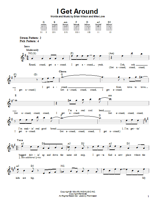 The Beach Boys I Get Around sheet music notes and chords. Download Printable PDF.