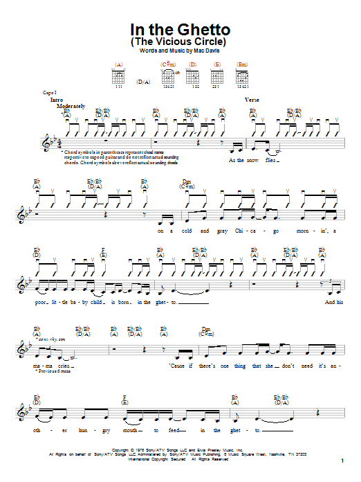 Elvis Presley In The Ghetto (The Vicious Circle) sheet music notes and chords. Download Printable PDF.