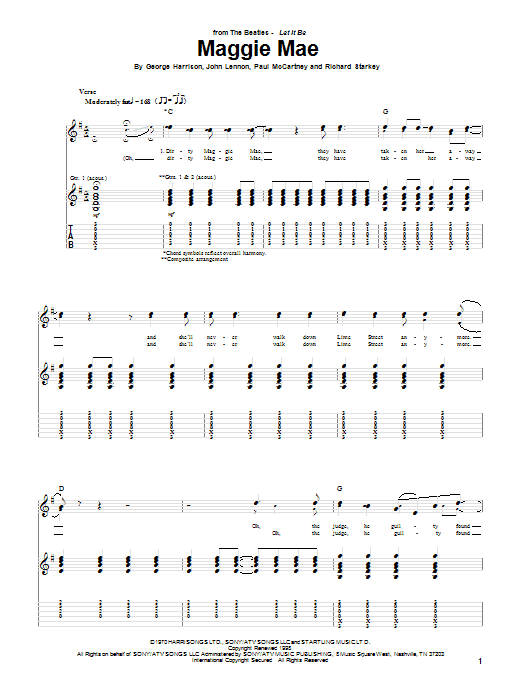 The Beatles Maggie Mae sheet music notes and chords. Download Printable PDF.