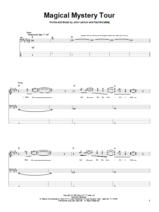 The Beatles Magical Mystery Tour sheet music notes and chords. Download Printable PDF.