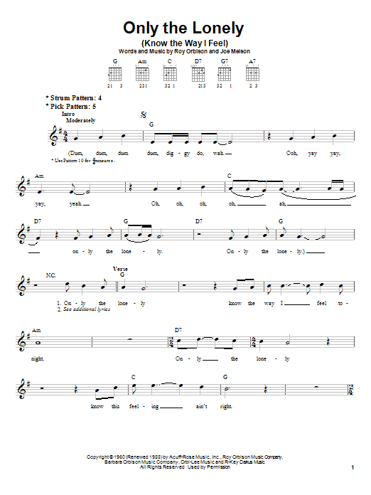 Roy Orbison Only The Lonely (Know The Way I Feel) sheet music notes and chords. Download Printable PDF.