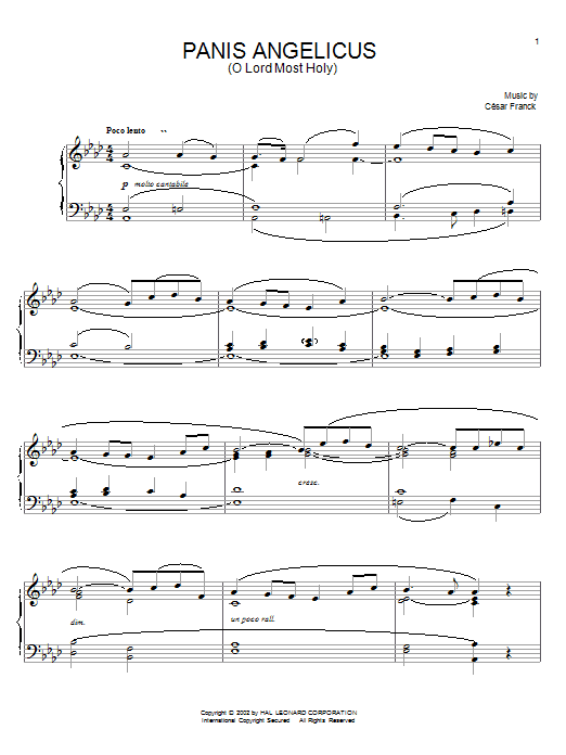 César Franck Panis Angelicus (O Lord Most Holy) sheet music notes and chords. Download Printable PDF.