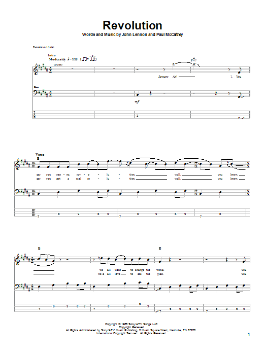 The Beatles Revolution sheet music notes and chords. Download Printable PDF.