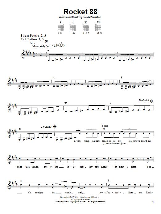 Jackie Brenston Rocket 88 sheet music notes and chords. Download Printable PDF.