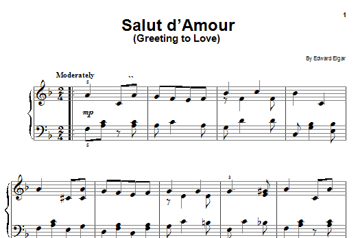 Edward Elgar Salut D'amour (Greeting To Love) sheet music notes and chords. Download Printable PDF.