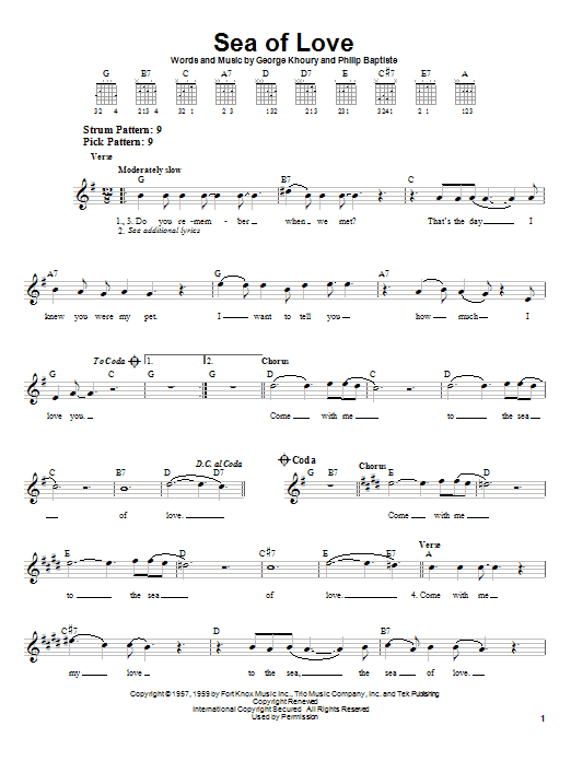 Phil Phillips Sea Of Love sheet music notes and chords. Download Printable PDF.
