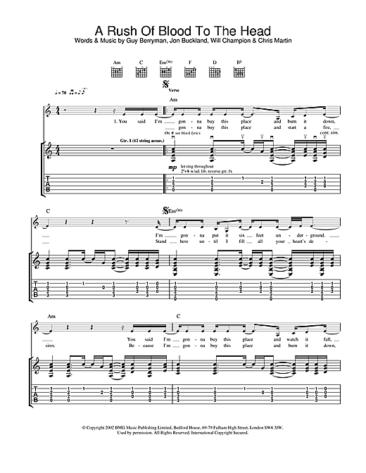 Coldplay A Rush Of Blood To The Head sheet music notes and chords. Download Printable PDF.