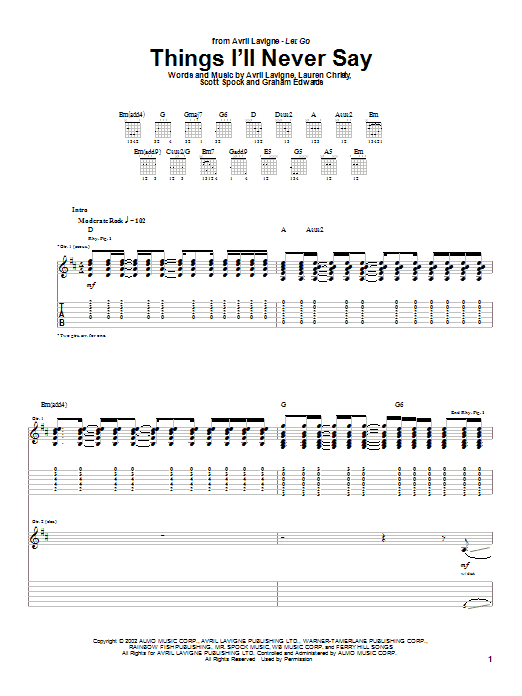 Avril Lavigne Things I'll Never Say sheet music notes and chords. Download Printable PDF.